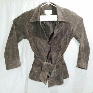 Margaret Godfrey Wrap Coat Belted Suede EUC